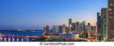 Panoramic view of Miami, Florida, summer sunset