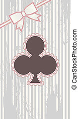 Clubs vintage poker card, vector illustration