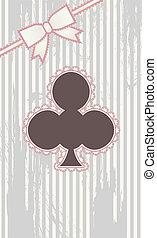 Clubs vintage poker card, vector illustration