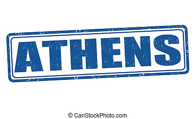 Athens stamp - Athens grunge rubber stamp on white, vector...