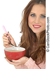 Young Woman Eating Soup