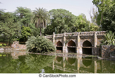 bridge inside lodhi gardens, delhi, india