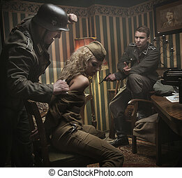 Art picture of interrogation of the polsih female soldier -...