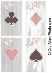 Vintage poker cards, vector illustration