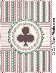 Old clubs poker card, vector illustration