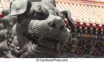 """Lion Statue at Lama Temple \"" - Bronze Lion at the Lama..."