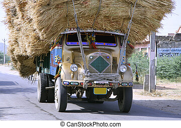 truck - overloaded truck on highway, rajasthan, india