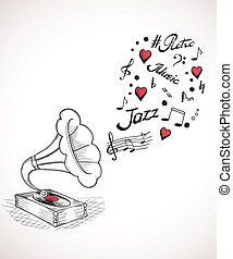 Gramophone with a bubble of music elements - Hand drawn...