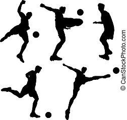 silhouette of Soccer football player man striking the ball...
