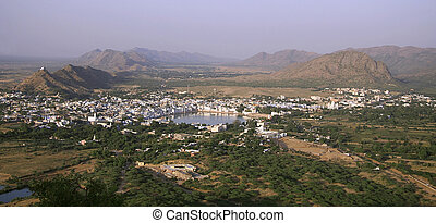 pushkar - panoramic view of pushkar city, rajasthan, india