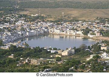 pushkar - aerial view of pushkar lake, rajasthan, india