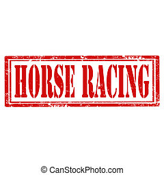 Horse Racing-stamp - Grunge rubber stamp with text Horse...