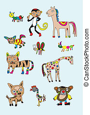 Naive animal set art vector picture