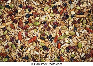 Homemade granola - Closeup of homemade granola with various...