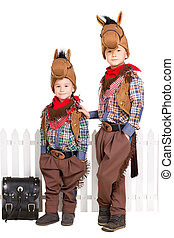 Two boys in horse costumes