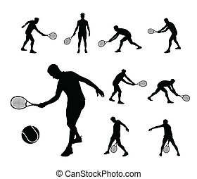 tennis players vector silhouettes