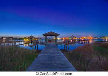 ocracoke, isla, noche, paisaje