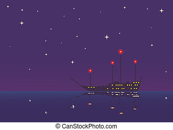 vessel in the night - computer generated illustration of...