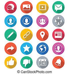 social network flat color icons - Simple vector icons Clear...