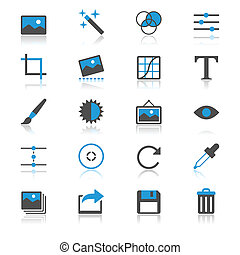 Photography flat with reflection icons - Simple vector...