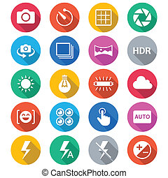 Photography flat color icons - Simple vector icons. Clear...