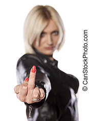middle finger - short haired blonde showing middle finger