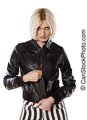 sexy blonde - attractive blonde in a black leather jacket...