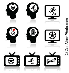 Man loving football or soccer icons - Vector icons set of...