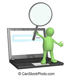 Puppet with magnifier and laptop