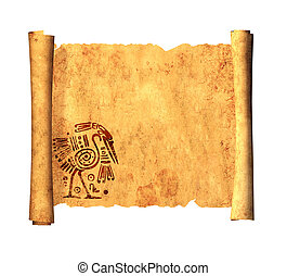 Scroll of old parchment Object on white background