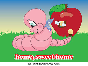 home, sweet home worm vector