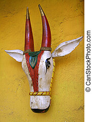 statue of cow inside jain temple, south india