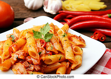arrabiata pasta - Penne pasta with chili sauce arrabiata