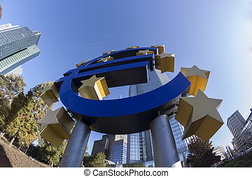 Euro Closeup - Euro symbol sign in frankfurt germany in...
