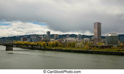 Portland Oregon Downtown Cityscape along Willamette River...