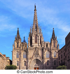 Cathedral in Barcelona - The Cathedral of the Holy Cross and...