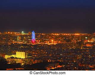 Blue Hour in Barcelona - Barcelona Cityscape during the blue...