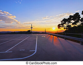 Empty Parking During Sunset - Empty Parking on the top of...