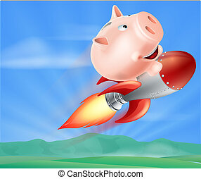 Rocket Piggy Bank - An illustration of a piggy bank on top...