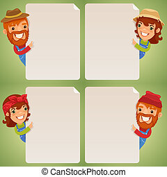 Farmers Cartoon Characters Looking at Blank Poster Set. In...