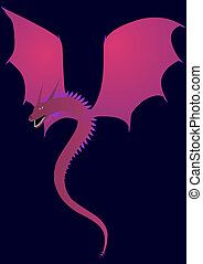 purple dragon - illustration of winged purple dragon