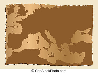 Old map of Europe with Mediterranean Sea
