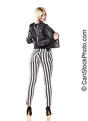 jacket and pants - Back view of an attractive short haired...