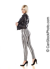 jacket and pants - Side view of an attractive short haired...