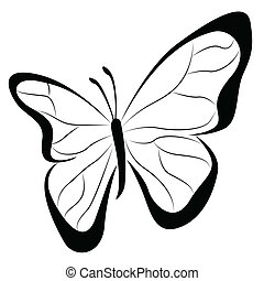 Butterfly simplified representation isolated on white
