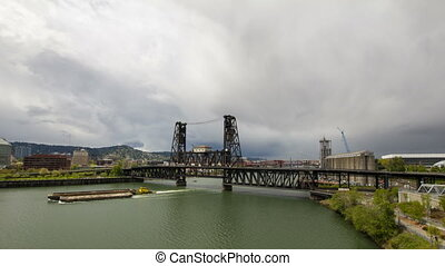 Steel Bridge in Portland OR 1080p - Traffic on Steel Bridge...