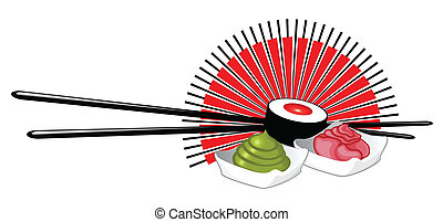 Sushi Set with Chopsticks, Wasabi and Ginger
