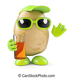 3d Potato at a party - 3d render of a potato with drink in...