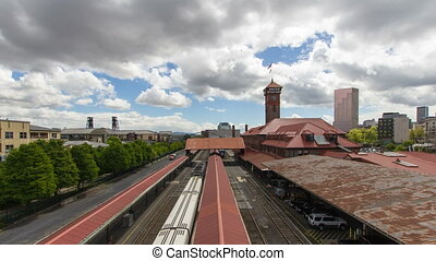 Union Train Station Time Lapse - PORTLAND, OREGON - APRIL...