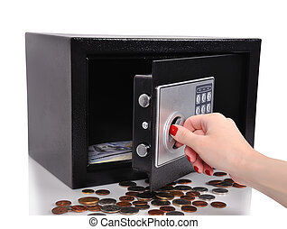 hand opened safe